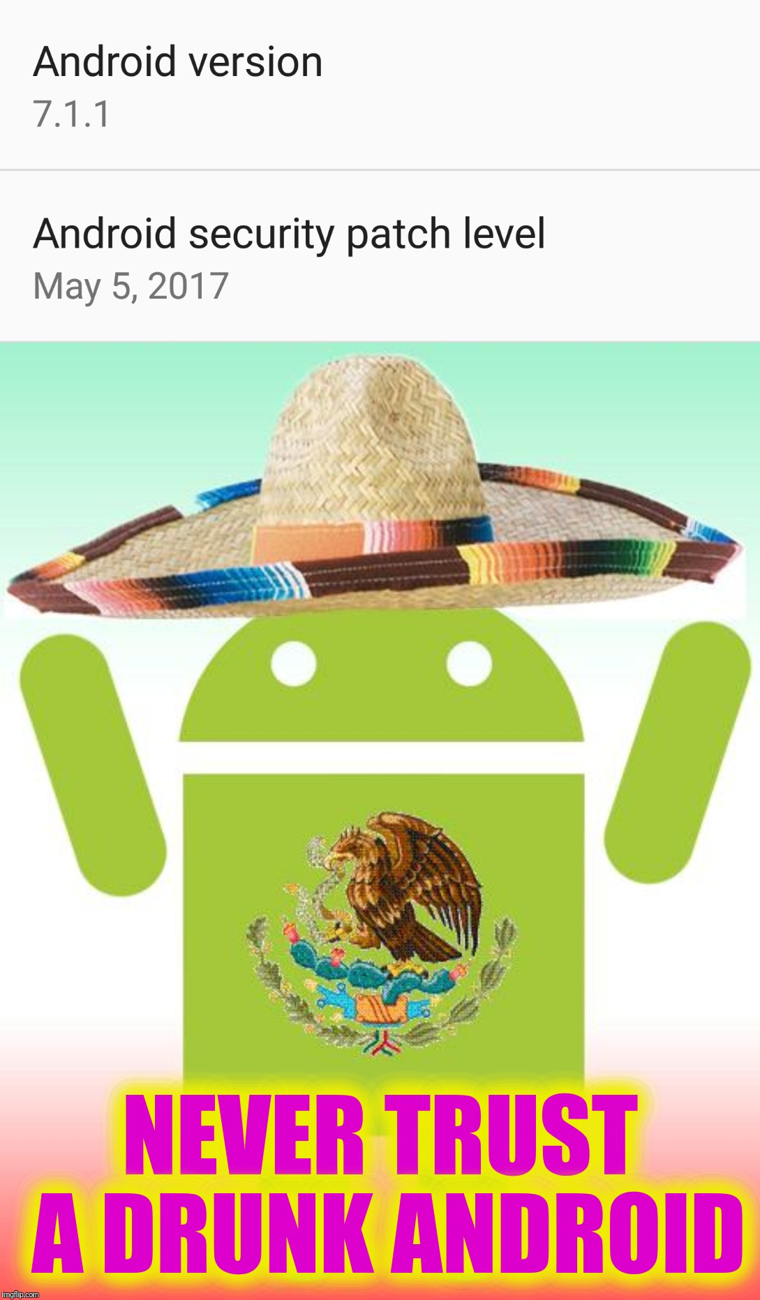 PPL of imgFLIP.  What are your plans for Cinco de Mayo?  I'm turning off my phone because all the Androids will be drunk... | NEVER TRUST A DRUNK ANDROID | image tagged in memes,cinco de mayo,go home youre drunk,borracho android,mexican word of the day,loco | made w/ Imgflip meme maker