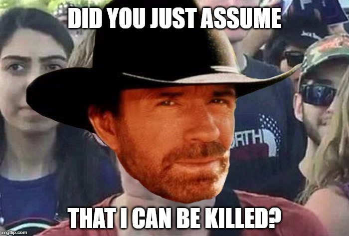 Chuck Norris Liberal | DID YOU JUST ASSUME THAT I CAN BE KILLED? | image tagged in memes,chuck norris,liberal,feminist,assume,chuck norris week | made w/ Imgflip meme maker