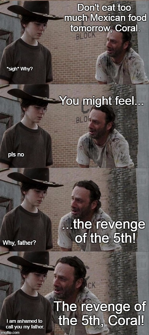 A pun I concocted today. | Don't eat too much Mexican food tomorrow, Coral. *sigh* Why? You might feel... pls no ...the revenge of the 5th! Why, father? The revenge of | image tagged in memes,rick and carl long,star wars day,cinco de mayo | made w/ Imgflip meme maker