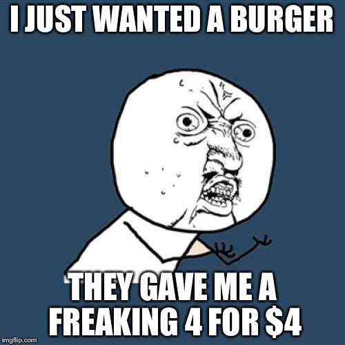 Y U No |  I JUST WANTED A BURGER; THEY GAVE ME A FREAKING 4 FOR $4 | image tagged in memes,y u no | made w/ Imgflip meme maker