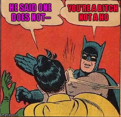Batman Slapping Robin Meme | HE SAID ONE DOES NOT-- YOU'RE A B**CH NOT A HO | image tagged in memes,batman slapping robin | made w/ Imgflip meme maker