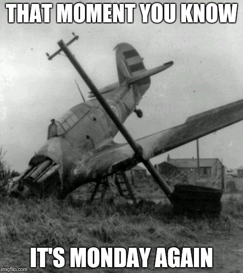 Reality Check | THAT MOMENT YOU KNOW IT'S MONDAY AGAIN | image tagged in crashed and burned,monday,memes,funny | made w/ Imgflip meme maker