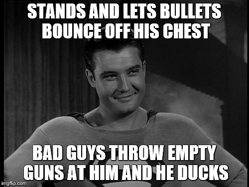 STANDS AND LETS BULLETS BOUNCE OFF HIS CHEST BAD GUYS THROW EMPTY GUNS AT HIM AND HE DUCKS | made w/ Imgflip meme maker