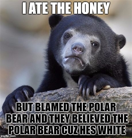 Confession Bear | I ATE THE HONEY BUT BLAMED THE POLAR BEAR AND THEY BELIEVED THE POLAR BEAR CUZ HES WHITE | image tagged in memes,confession bear | made w/ Imgflip meme maker