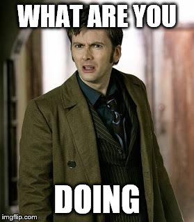 doctor who is confused | WHAT ARE YOU DOING | image tagged in doctor who is confused | made w/ Imgflip meme maker