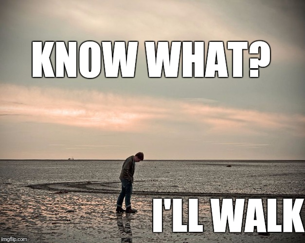 lonely | KNOW WHAT? I'LL WALK | image tagged in lonely | made w/ Imgflip meme maker