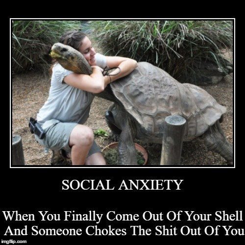 When You Finally Come Out Of Your Shell And Someone Chokes The Shit Out Of You | SOCIAL ANXIETY | image tagged in funny,demotivationals | made w/ Imgflip demotivational maker