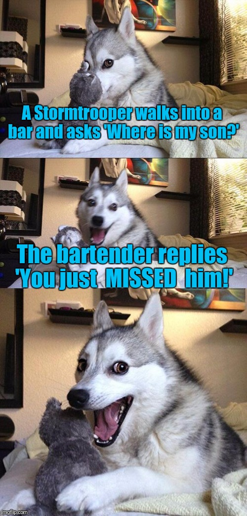 Bad Pun Dog Meme | A Stormtrooper walks into a bar and asks 'Where is my son?' The bartender replies 'You just  MISSED  him!' | image tagged in memes,bad pun dog | made w/ Imgflip meme maker