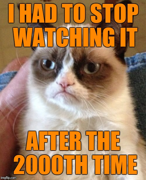 Grumpy Cat Meme | I HAD TO STOP WATCHING IT AFTER THE 2000TH TIME | image tagged in memes,grumpy cat | made w/ Imgflip meme maker