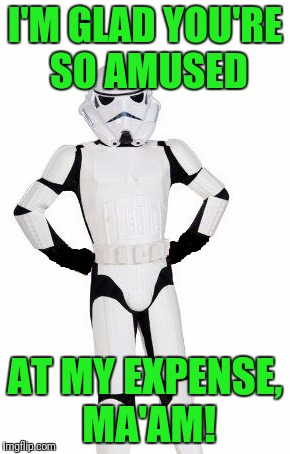 upset stormtrooper | I'M GLAD YOU'RE SO AMUSED AT MY EXPENSE, MA'AM! | image tagged in upset stormtrooper | made w/ Imgflip meme maker