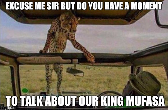 EXCUSE ME SIR BUT DO YOU HAVE A MOMENT TO TALK ABOUT OUR KING MUFASA | image tagged in hi there,funny,chuck norris,boobs,10 guy,bad luck brian | made w/ Imgflip meme maker