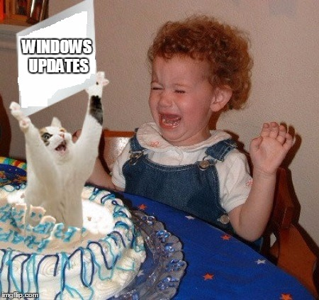 Another surprise party for the Service Desk | WINDOWS UPDATES | image tagged in technology,help desk | made w/ Imgflip meme maker