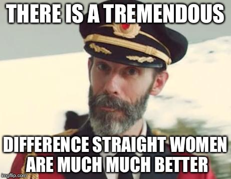THERE IS A TREMENDOUS DIFFERENCE STRAIGHT WOMEN ARE MUCH MUCH BETTER | made w/ Imgflip meme maker