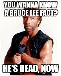 YOU WANNA KNOW A BRUCE LEE FACT? HE'S DEAD, NOW | made w/ Imgflip meme maker