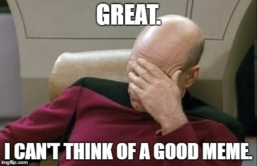 Captain Picard Facepalm Meme | GREAT. I CAN'T THINK OF A GOOD MEME. | image tagged in memes,captain picard facepalm | made w/ Imgflip meme maker