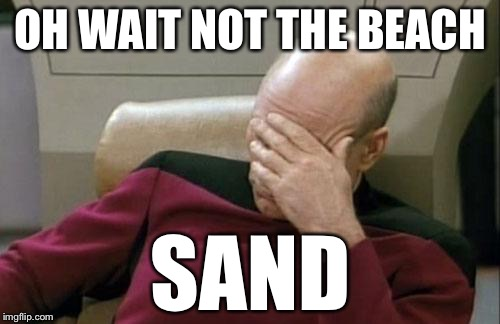Captain Picard Facepalm Meme | OH WAIT NOT THE BEACH SAND | image tagged in memes,captain picard facepalm | made w/ Imgflip meme maker