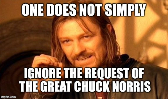 One Does Not Simply Meme | ONE DOES NOT SIMPLY IGNORE THE REQUEST OF THE GREAT CHUCK NORRIS | image tagged in memes,one does not simply | made w/ Imgflip meme maker