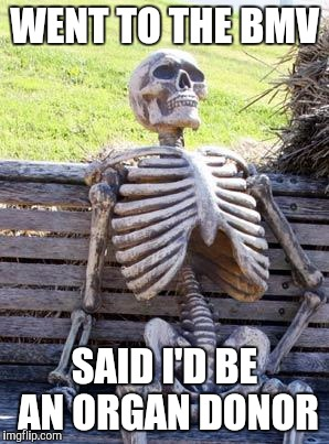 Waiting Skeleton | WENT TO THE BMV SAID I'D BE AN ORGAN DONOR | image tagged in waiting skeleton,well shit,welfare surfer,trumpcare,forrest gump,lol so funny | made w/ Imgflip meme maker