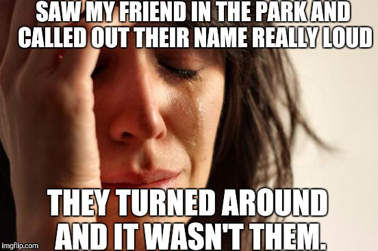 Horrible realisations | SAW MY FRIEND IN THE PARK AND CALLED OUT THEIR NAME REALLY LOUD THEY TURNED AROUND AND IT WASN'T THEM. | image tagged in memes,first world problems | made w/ Imgflip meme maker
