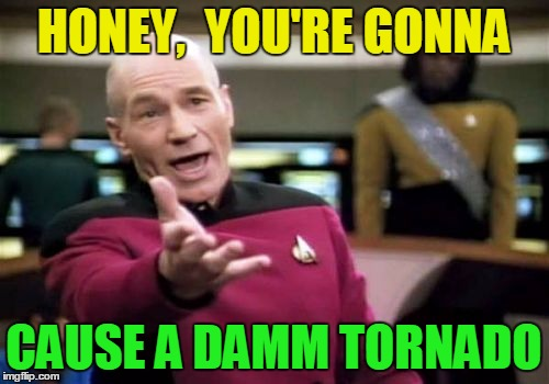 Picard Wtf Meme | HONEY,  YOU'RE GONNA CAUSE A DAMM TORNADO | image tagged in memes,picard wtf | made w/ Imgflip meme maker