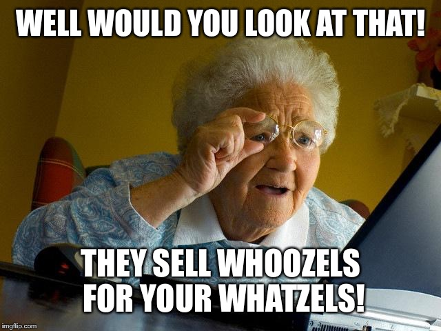 Grandma Finds The Internet Meme | WELL WOULD YOU LOOK AT THAT! THEY SELL WHOOZELS FOR YOUR WHATZELS! | image tagged in memes,grandma finds the internet | made w/ Imgflip meme maker