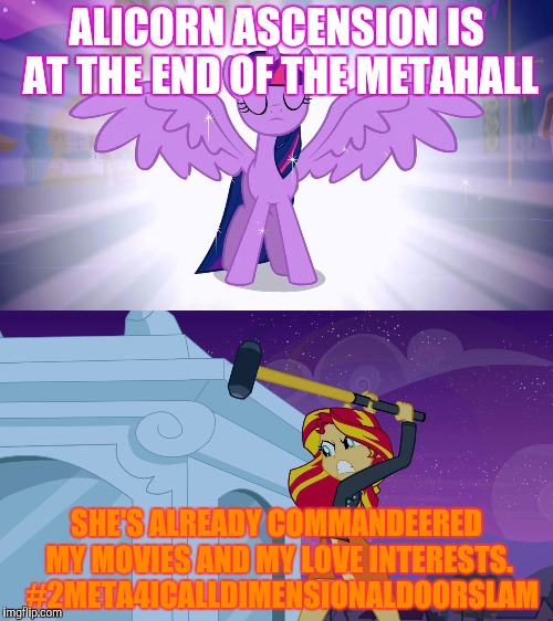 ALICORN ASCENSION IS AT THE END OF THE METAHALL SHE'S ALREADY COMMANDEERED MY MOVIES AND MY LOVE INTERESTS.  #2META4ICALLDIMENSIONALDOORSLAM | made w/ Imgflip meme maker