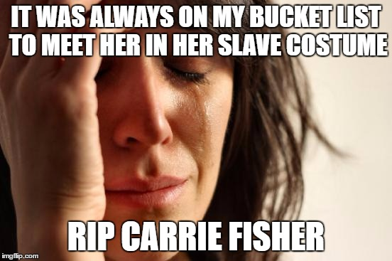 First World Problems Meme | IT WAS ALWAYS ON MY BUCKET LIST TO MEET HER IN HER SLAVE COSTUME RIP CARRIE FISHER | image tagged in memes,first world problems | made w/ Imgflip meme maker