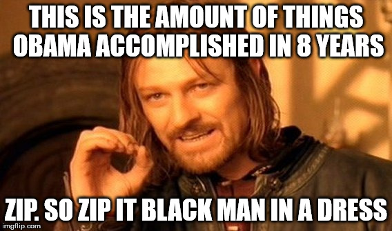 One Does Not Simply Meme | THIS IS THE AMOUNT OF THINGS OBAMA ACCOMPLISHED IN 8 YEARS ZIP. SO ZIP IT BLACK MAN IN A DRESS | image tagged in memes,one does not simply | made w/ Imgflip meme maker
