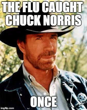 There is no cure for Chuck! Chuck Norris Week.....A Sir_Unknown Event | THE FLU CAUGHT CHUCK NORRIS ONCE | image tagged in memes,chuck norris,chuck norris week | made w/ Imgflip meme maker