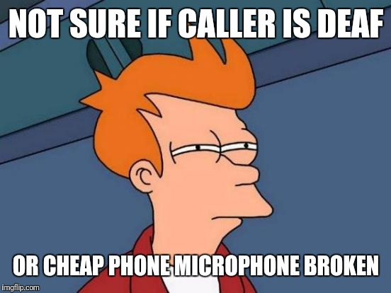 Futurama Fry Meme | NOT SURE IF CALLER IS DEAF OR CHEAP PHONE MICROPHONE BROKEN | image tagged in memes,futurama fry | made w/ Imgflip meme maker