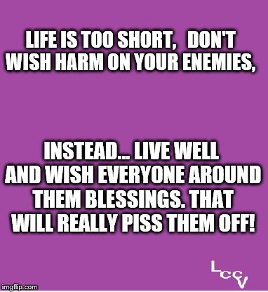 Life is short | LIFE IS TOO SHORT,   DON'T WISH HARM ON YOUR ENEMIES, INSTEAD... LIVE WELL AND WISH EVERYONE AROUND THEM BLESSINGS. THAT WILL REALLY PISS TH | image tagged in laughing at bullies | made w/ Imgflip meme maker