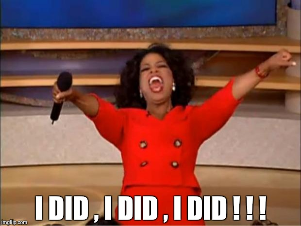 Oprah You Get A Meme | I DID , I DID , I DID ! ! ! | image tagged in memes,oprah you get a | made w/ Imgflip meme maker