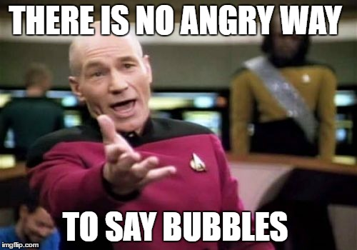 Picard Wtf Meme | THERE IS NO ANGRY WAY TO SAY BUBBLES | image tagged in memes,picard wtf | made w/ Imgflip meme maker
