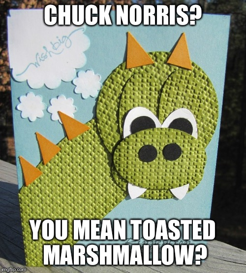 Overly Dragonly Dragon |  CHUCK NORRIS? YOU MEAN TOASTED MARSHMALLOW? | image tagged in memes,overly dragonly dragon | made w/ Imgflip meme maker