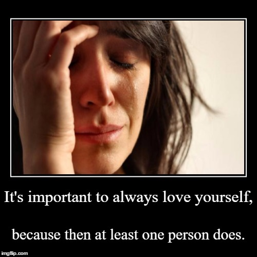 It's important to always love yourself, | because then at least one person does. | image tagged in funny,demotivationals | made w/ Imgflip demotivational maker