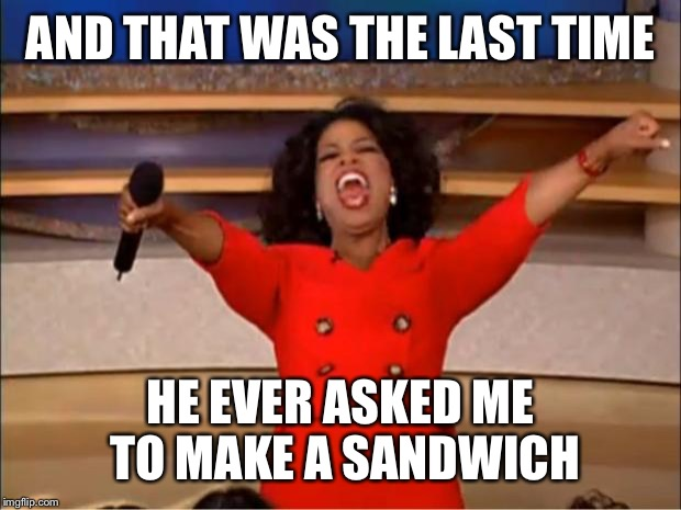 Oprah You Get A Meme | AND THAT WAS THE LAST TIME HE EVER ASKED ME TO MAKE A SANDWICH | image tagged in memes,oprah you get a | made w/ Imgflip meme maker