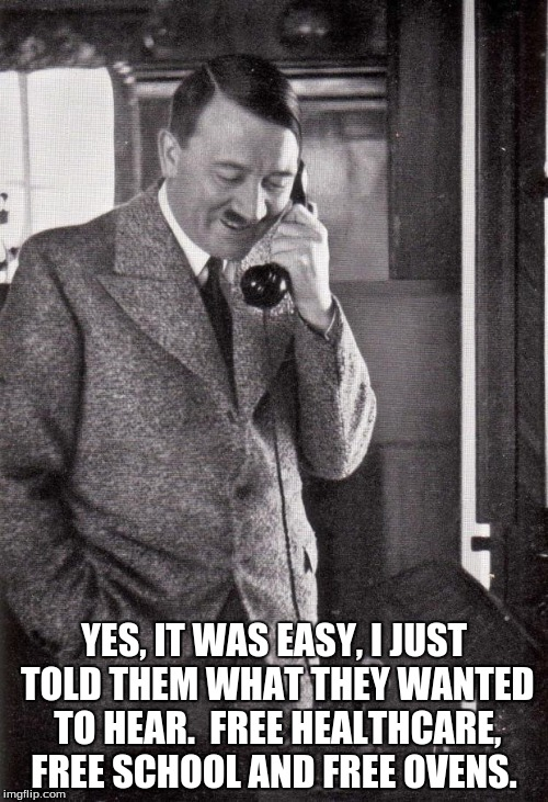 hitler | YES, IT WAS EASY, I JUST TOLD THEM WHAT THEY WANTED TO HEAR.  FREE HEALTHCARE, FREE SCHOOL AND FREE OVENS. | image tagged in hitler | made w/ Imgflip meme maker