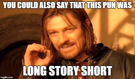 One Does Not Simply Meme | YOU COULD ALSO SAY THAT THIS PUN WAS LONG STORY SHORT | image tagged in memes,one does not simply | made w/ Imgflip meme maker