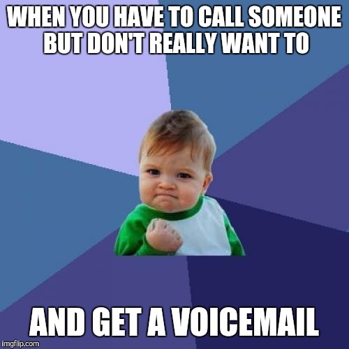 Success Kid Meme | WHEN YOU HAVE TO CALL SOMEONE BUT DON'T REALLY WANT TO AND GET A VOICEMAIL | image tagged in memes,success kid | made w/ Imgflip meme maker