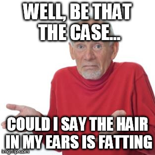 WELL, BE THAT THE CASE... COULD I SAY THE HAIR IN MY EARS IS FATTING | made w/ Imgflip meme maker