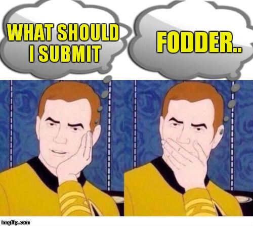 deep thoughts with Captain Kirk | WHAT SHOULD I SUBMIT FODDER.. | image tagged in deep thoughts with captain kirk | made w/ Imgflip meme maker