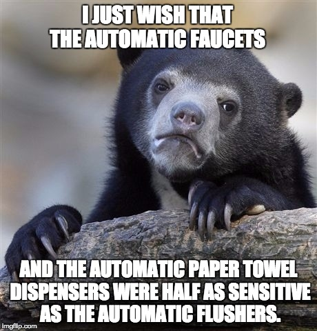 Confession Bear Meme | I JUST WISH THAT THE AUTOMATIC FAUCETS AND THE AUTOMATIC PAPER TOWEL DISPENSERS WERE HALF AS SENSITIVE AS THE AUTOMATIC FLUSHERS. | image tagged in memes,confession bear | made w/ Imgflip meme maker