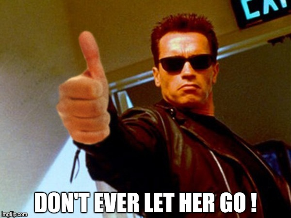Arnold likes it | DON'T EVER LET HER GO ! | image tagged in arnold likes it | made w/ Imgflip meme maker