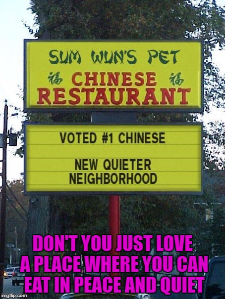 The food always tastes so fresh there!!! | DON'T YOU JUST LOVE A PLACE WHERE YOU CAN EAT IN PEACE AND QUIET | image tagged in chinese food,memes,signs,funny signs,funny,pet food | made w/ Imgflip meme maker
