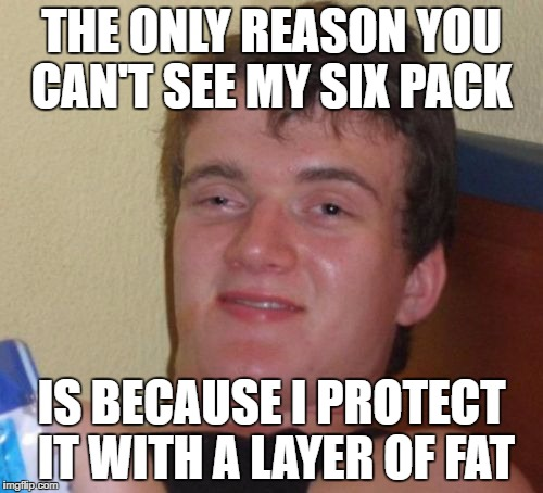 10 Guy Meme | THE ONLY REASON YOU CAN'T SEE MY SIX PACK IS BECAUSE I PROTECT IT WITH A LAYER OF FAT | image tagged in memes,10 guy | made w/ Imgflip meme maker