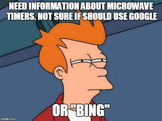 "Futurama Fry Meme | NEED INFORMATION ABOUT MICROWAVE TIMERS. NOT SURE IF SHOULD USE GOOGLE OR ""BING"" 
