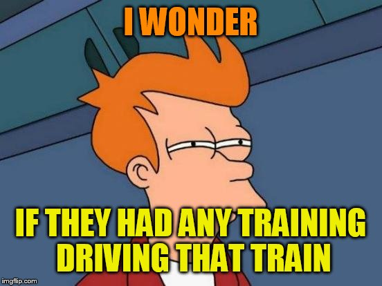 Futurama Fry Meme | I WONDER IF THEY HAD ANY TRAINING DRIVING THAT TRAIN | image tagged in memes,futurama fry | made w/ Imgflip meme maker