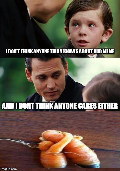 its fruit week (or in this case, a vegetable) A 123Guy event. | I DON'T THINK ANYONE TRULY KNOWS ABOUT OUR MEME AND I DONT THINK ANYONE CARES EITHER | image tagged in memes,finding neverland,fruit week,johnny depp,carrots | made w/ Imgflip meme maker