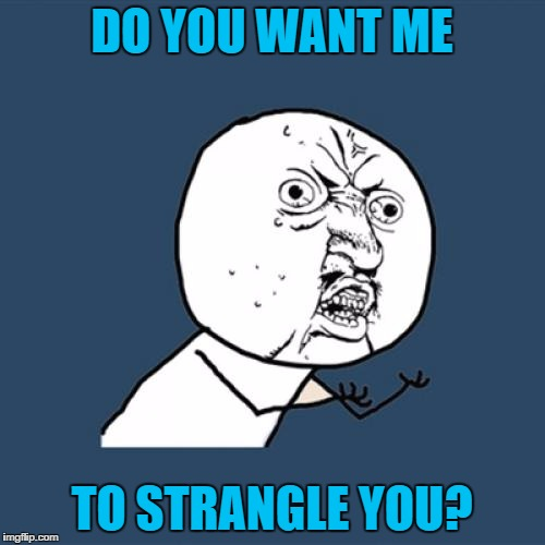 Y U No Meme | DO YOU WANT ME TO STRANGLE YOU? | image tagged in memes,y u no | made w/ Imgflip meme maker
