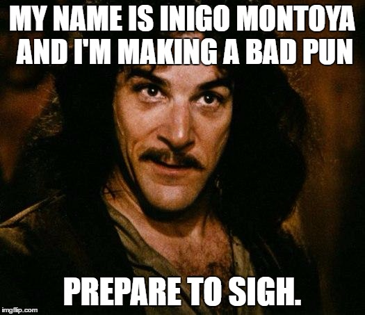 Bad puns make me sigh . . .  | MY NAME IS INIGO MONTOYA AND I'M MAKING A BAD PUN PREPARE TO SIGH. | image tagged in memes,inigo montoya,bad pun | made w/ Imgflip meme maker